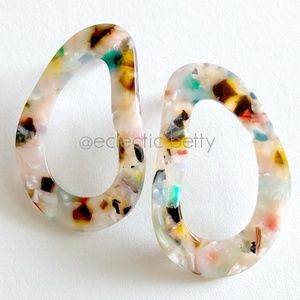 Oblong Confetti Acetate Flat Lay Hoop Earrings